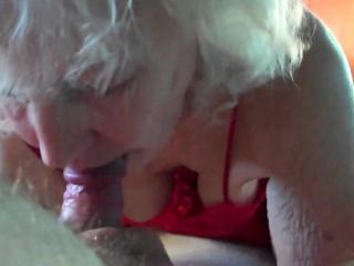 Horny Grandma Giving an amazing Blowjob