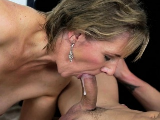 Old horny lady blows cock
