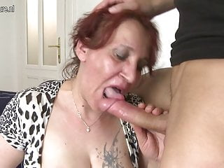 Naughty granny fucking her young boy