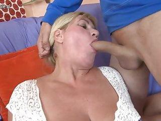 Sweet busty mom fucks her young boy