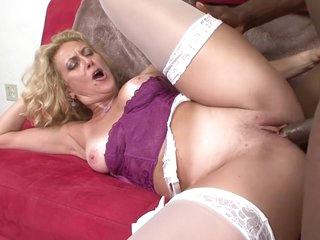 Horny pornstar Dana Devine in hottest interracial, blonde sex video