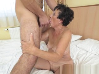 Hairy grandma sucks dick