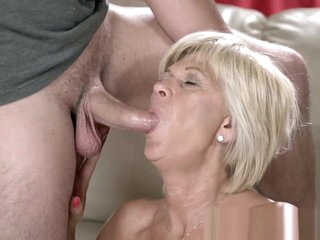 Grandmother gets tongued