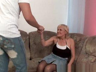 Grandma in stockings gets a facial