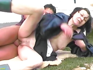 80 years old granny outdoor fucked