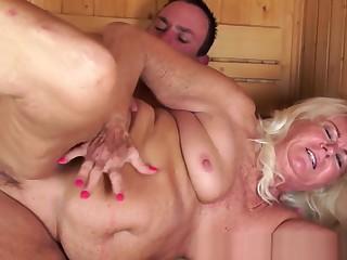 Saggy Grandma Banged Hard In The Sauna Room