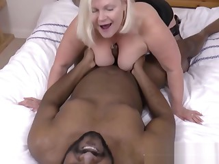 Blonde granny with big boobs gets stripped and fucked by black man