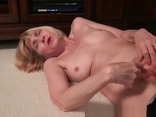 Skinny granny Bossy Rider strips off and shows you her tight pussy