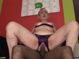 Grandma Gets Rough Big Black Cock Fucked